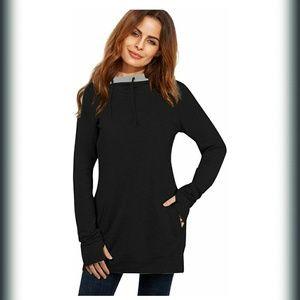 Tops - Women's long sleeve high neck tunic hoodie